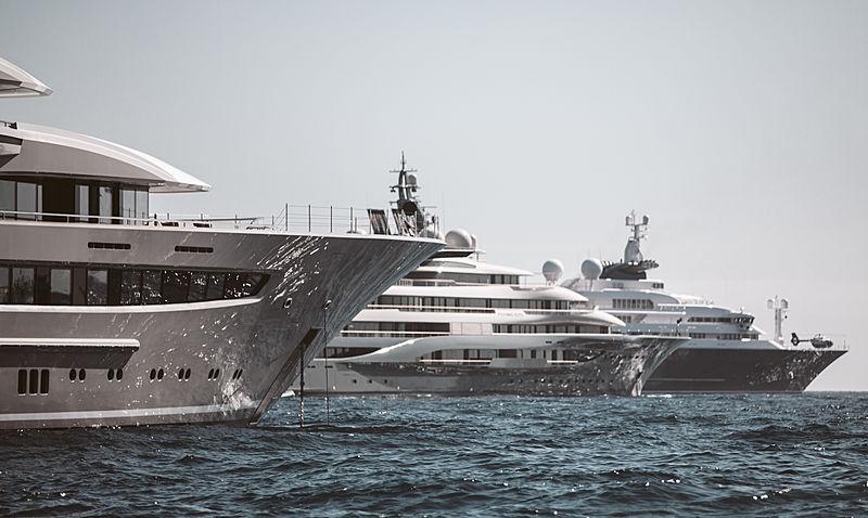 Espen Øino-designed superyachts during the Monaco Yacht Show 2019