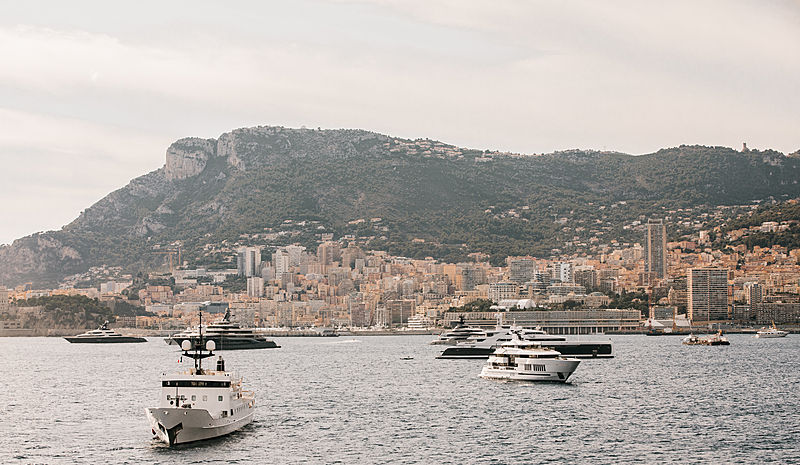 Superyachts during the Monaco Yacht Show 2019