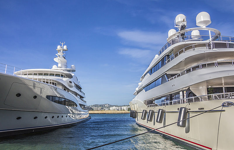 Mayan Queen IV yacht and Excellence yacht in Ibiza Port