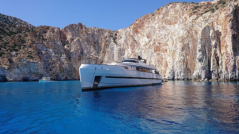 Project Steel yacht anchored