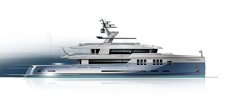 7Oceans 45m explorer yacht concept rendering