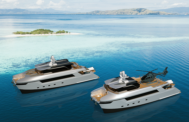 Echo  Yachts 27m cat shadow concept rendering