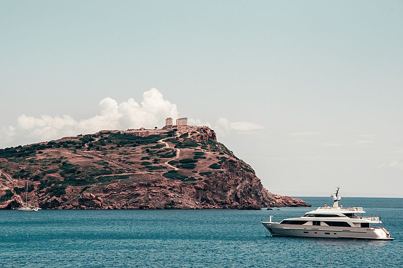 Ku yacht by Sanlorenzo in Cape Sounion, Greece