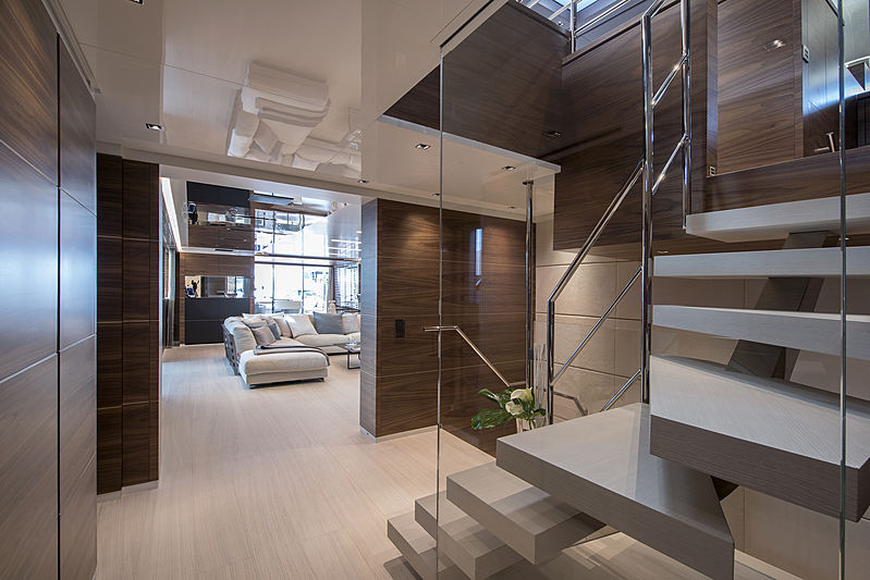 Stella M yacht staircase