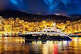Solaris yacht cruising at night
