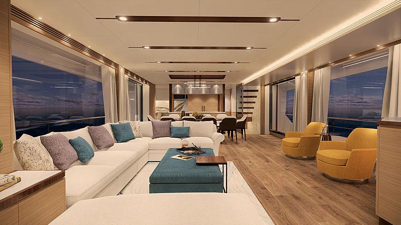 Horizon FD92 Tri Deck yacht interior rendering