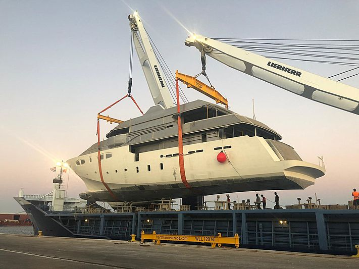 VK_1 yacht hull at Vulkan Shipyard in Valencia