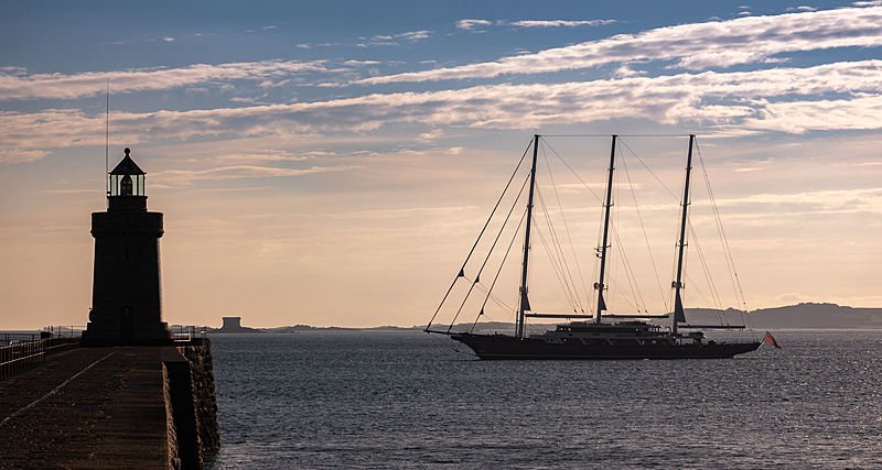 EOS yacht arriving at St. Peter Port