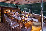 Wisp yacht cockpit at night
