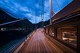 Wisp yacht deck at night