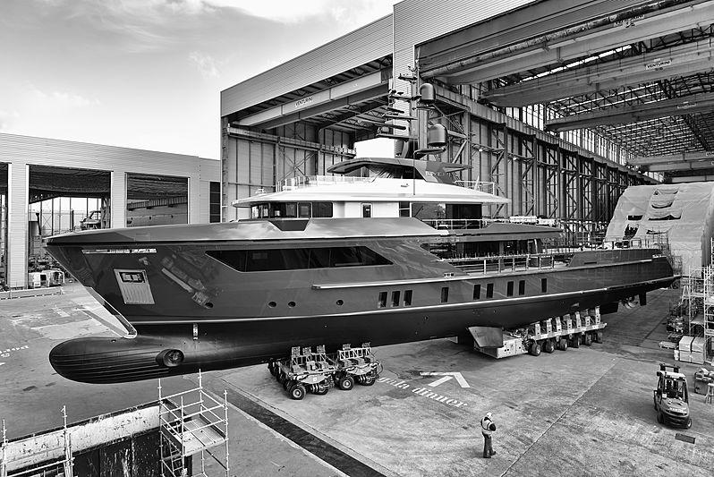 Amo yacht ahead of her launch