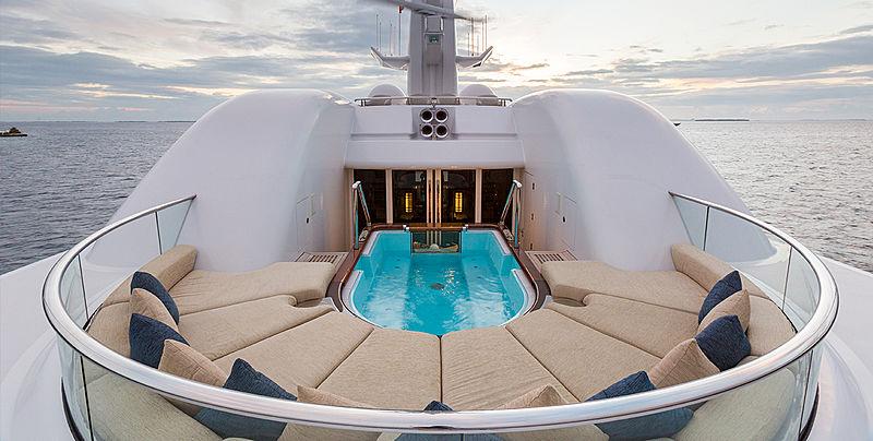 Wheels yacht sundeck and jacuzzi