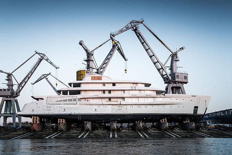 Amels 78m Custom yacht hull launch at Damen Galati shipyard