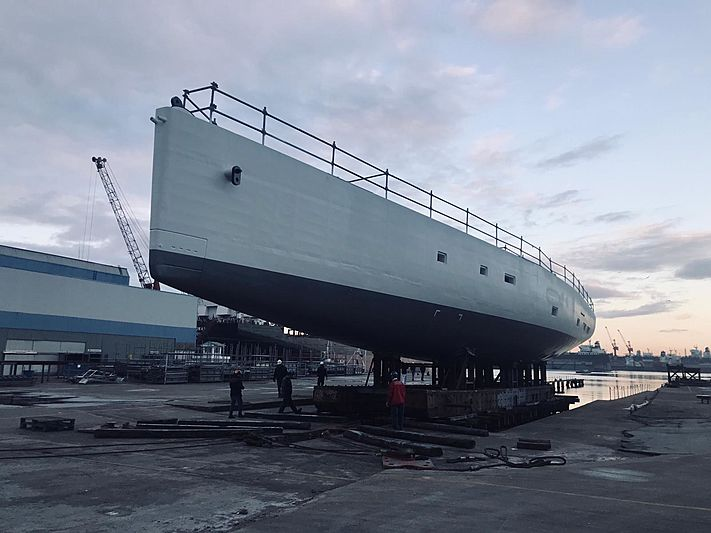 Perini Navi E-Volution 42/02 yacht hull launch in Yildiz Tuzla