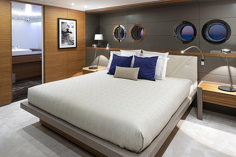 Bold yacht stateroom