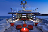 Bold yacht aft deck at night
