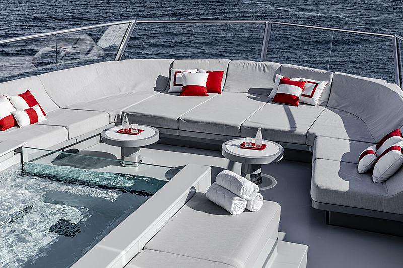 Bold yacht jacuzzi on sundeck