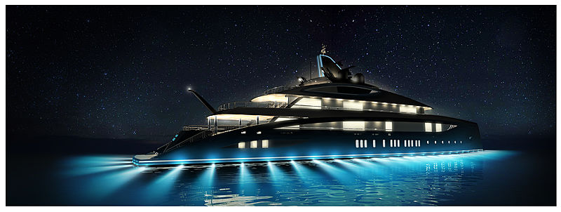 77m Black Shark yacht exterior render