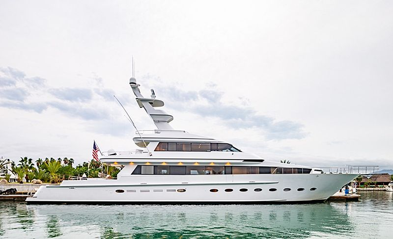 Steadfast yacht docked in marina