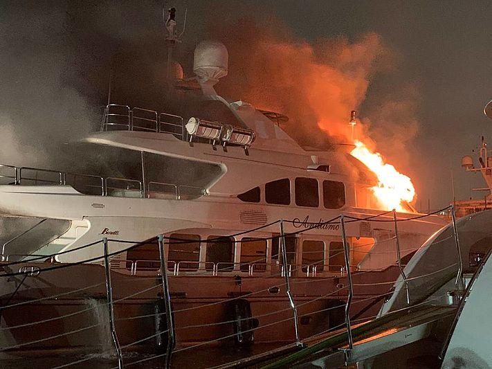 Andiamo yacht on fire in Island Garden, Miami