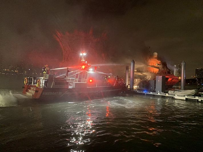 Andiamo yacht on fire Miami Watson Island Miami