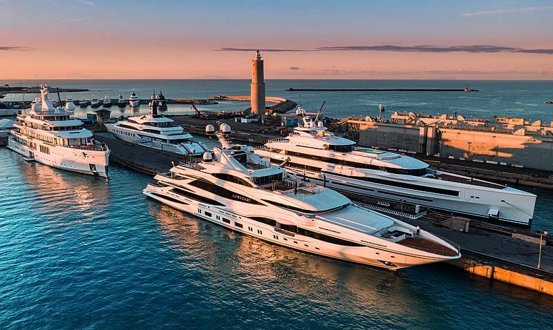 Benetti's giga yachts at the Benetti Livorno shipyard