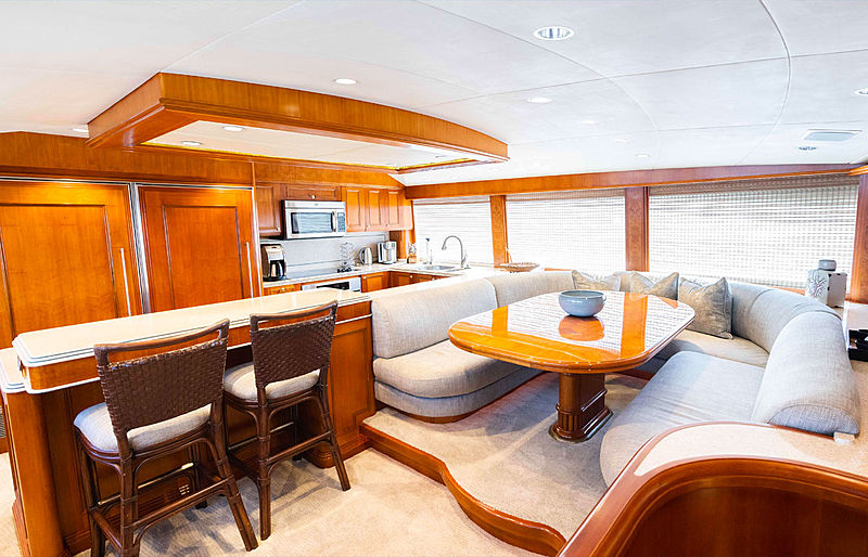 Sea Filly yacht dinette and galley