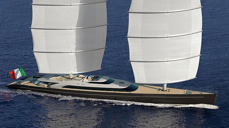 Perini Navi 72m Falcon Rig yacht concept exterior design