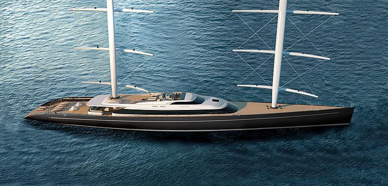 Perini Navi 80m Falcon Rig yacht concept exterior design