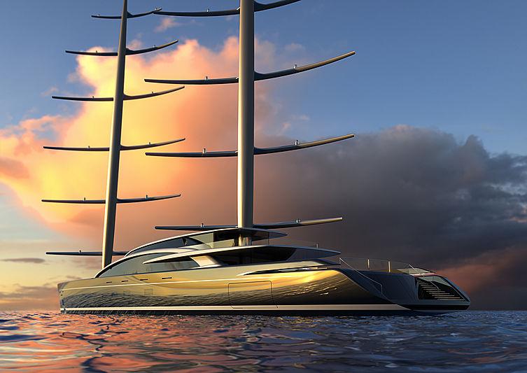 Perini Navi 92m Falcon Rig yacht concept exterior design