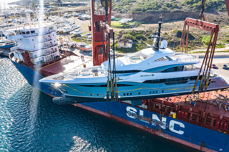 Snow 5 yacht being loaded on heavy lift ship