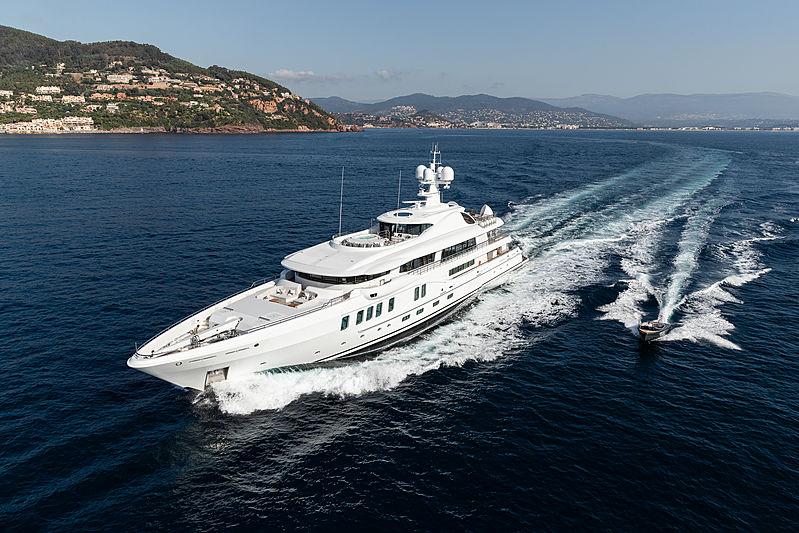 Aurora Borealis yacht cruising with tender
