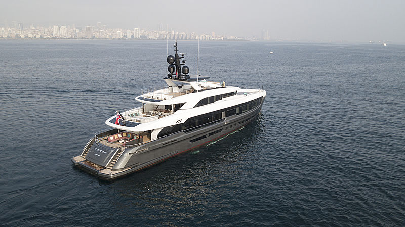 Virtus yacht anchored stern