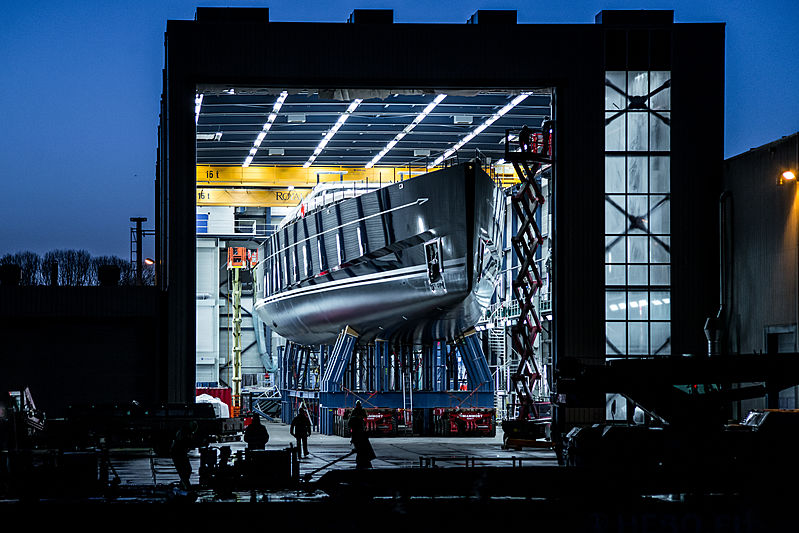 Sea Eagle II yacht ready to launch at Royal Huisman