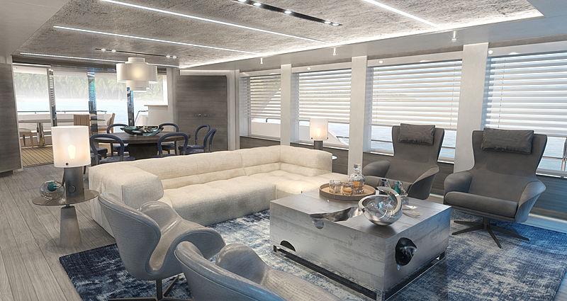Westport 117 Raised Pilothouse yacht interior design