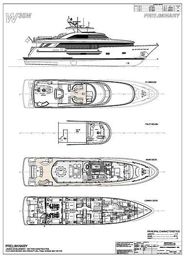 Westport 117 Raised Pilothouse yacht deck plan