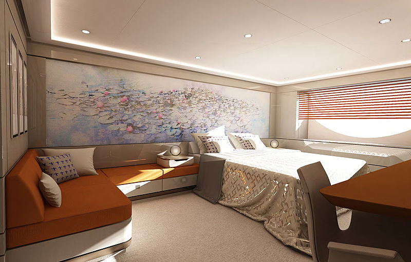 68m Soaring yacht stateroom render