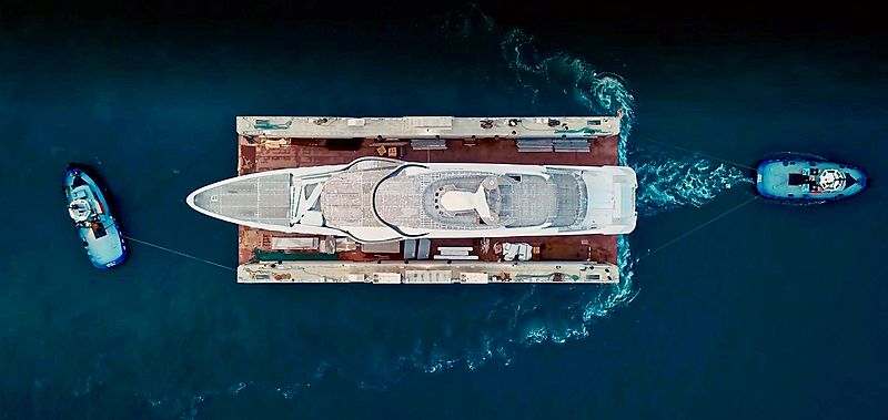 Turquoise 74m Valicelli yacht in build in Pendik