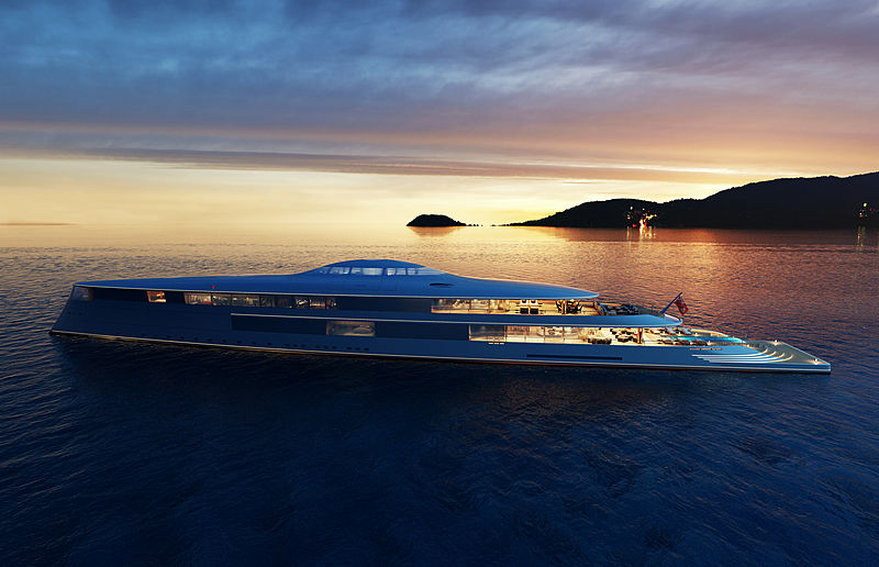 yacht Aqua at dusk