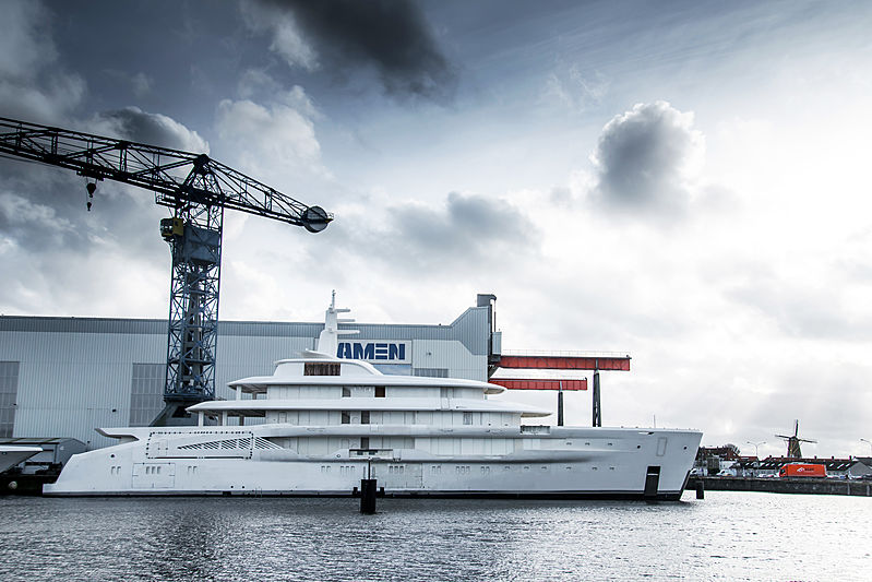 Amels 78m Full Custom yacht at yard for outfitting