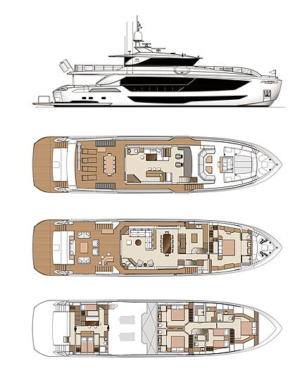 Horizon  FD102/01 Skyline yacht layout