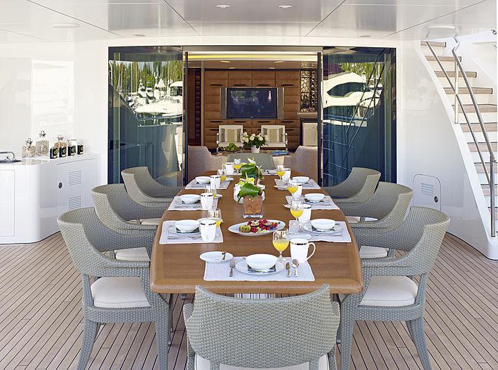 My Secret yacht deck dining