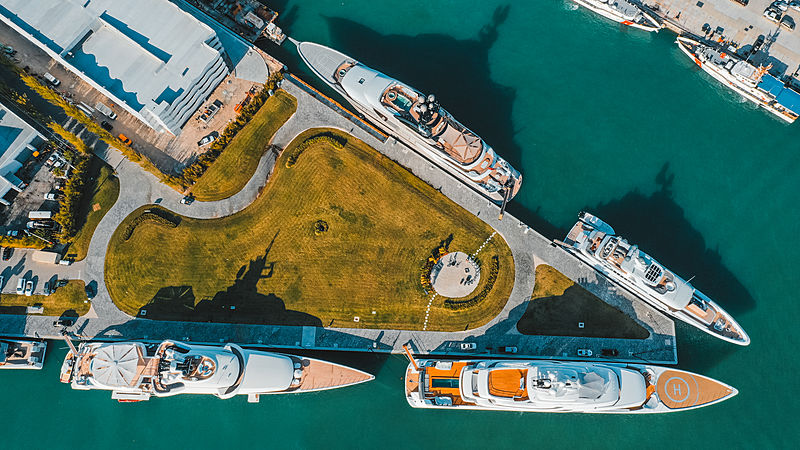 Superyachts in Miami during Super Bowl Sunday 2020