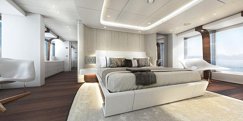 Heesen Electra yacht owner stateroom rendering