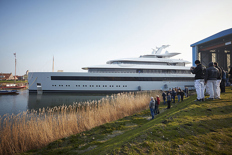 Feadship Porject 1008 Moonrise launch in Makkum