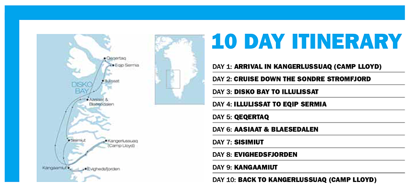 Greenland travel itnerary graphic