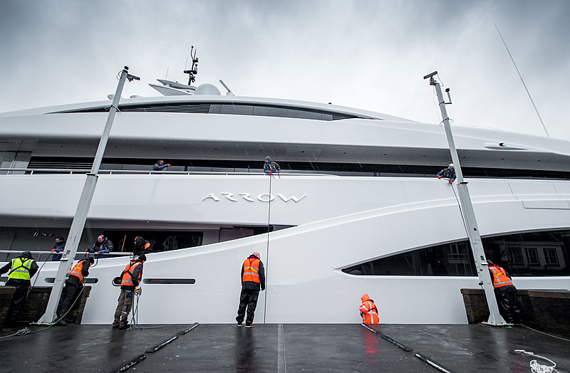 Arrow yacht by Feadship under transport