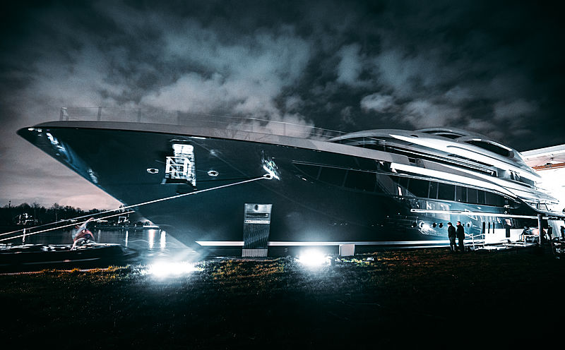 Feadship project 705 launch in Aalsmeer