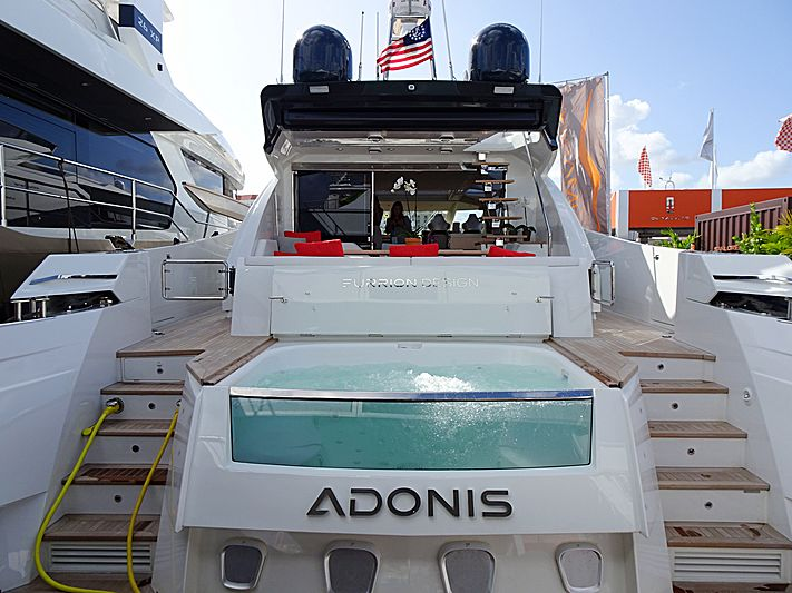 Adonis yacht at the 2019 Palm Beach International Boat Show