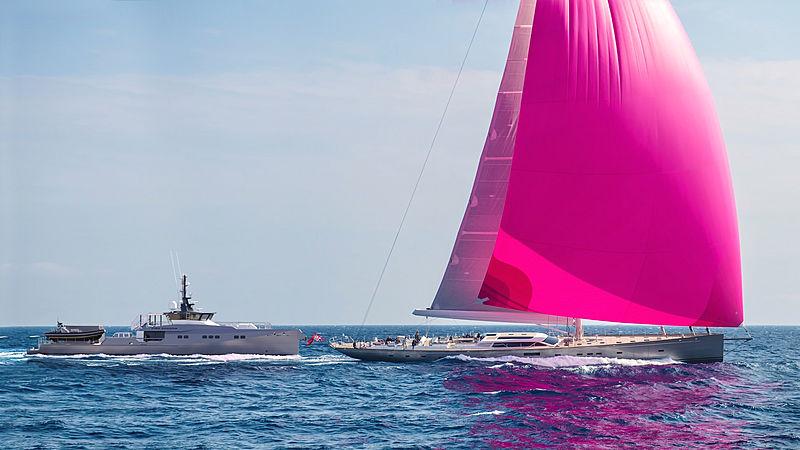 Pink Shadow yacht alongside Pink Gin VI in St. Barths